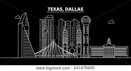 Dallas Silhouette Skyline. Usa - Dallas Vector City, American Linear Architecture, Buildings. Dallas
