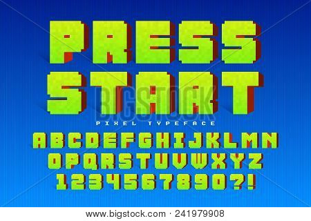 Pixel Vector Font Design, Stylized Like In 8-bit Games. Press Start. High Contrast, Retro-futuristic