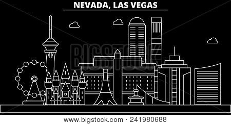 Las Vegas Silhouette Skyline. Usa - Las Vegas Vector City, American Linear Architecture, Buildings.