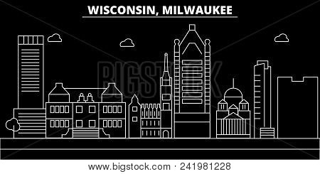 Milwaukee City Silhouette Skyline. Usa - Milwaukee City Vector City, American Linear Architecture, B