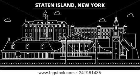 New York City Silhouette Skyline. Usa - New York City Vector City, American Linear Architecture, Bui