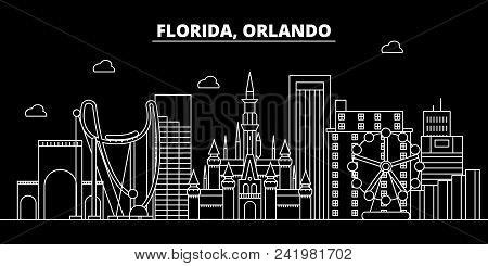 Orlando Silhouette Skyline. Usa - Orlando Vector City, American Linear Architecture, Buildings. Orla