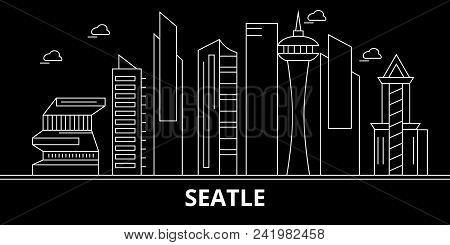 Seattle City Silhouette Skyline. Usa - Seattle City Vector City, American Linear Architecture, Build