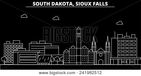 Sioux Falls Silhouette Skyline. Usa - Sioux Falls Vector City, American Linear Architecture, Buildin
