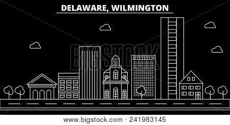Wilmington Silhouette Skyline. Usa - Wilmington Vector City, American Linear Architecture, Buildings