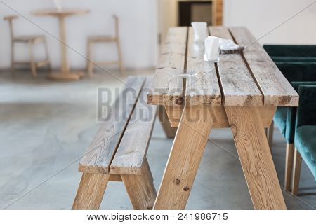 Wooden Bench And Table Indoor. Rural Rustic Interior. Product Display. Empty Country Cafe Or Dining