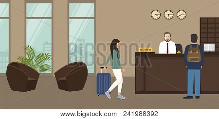 Hotel Reception. Receptionist Man Stands At Reception Desk. There Are Two Brown Armchairs On A Windo