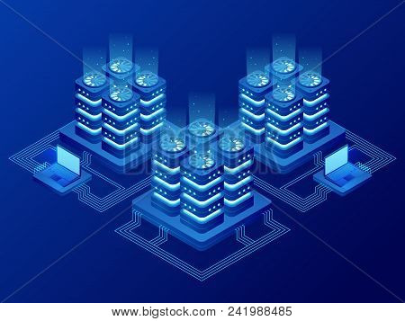 Isometric Database Network Management. Big Data Processing, Energy Station Of Future. It Technician