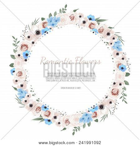 Cute Wreath With Leaves And Flowers, Vector Illustration In Vintage Watercolor Style