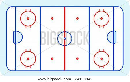 ice hockey field blue greetings card vector