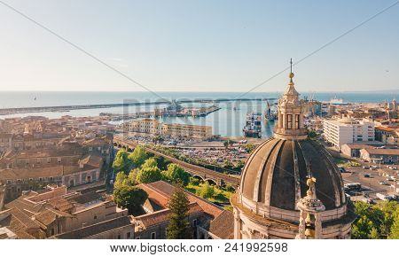 Catania, Sicily. May 10, 2018. Aerial View On The Port Of Catania Which Is Located Next To The Old T