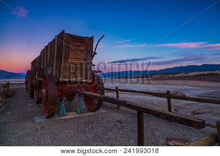 Harmony: Old Carriage At Sunrise: Harmony Borax Salt Mines In Death Valley National Park, California