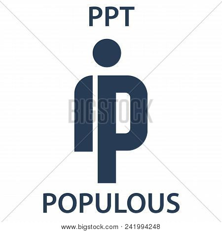 Populous Coin Cryptocurrency Blockchain Icon. Virtual Electronic, Internet Money Or Cryptocoin Symbo