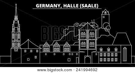 Halle Saale Silhouette Skyline. Germany - Halle Saale Vector City, German Linear Architecture, Build