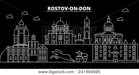 Rostov-on-don Silhouette Skyline. Russia - Rostov-on-don City, Russian Linear Architecture, Building