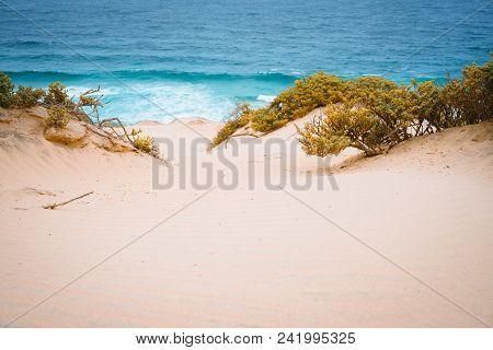 Surreal Golden Sand Dunes On The Atlantic Coastline On Baia Das Gatas. North Of Calhau, Sao Vicente