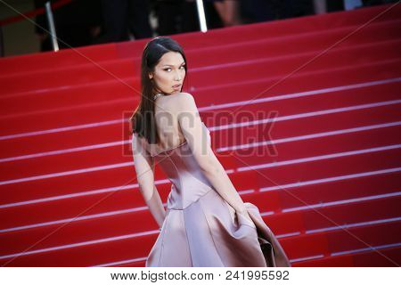 Bella Hadid attends the screening of  'Ash Is Purest White (Jiang Hu Er Nv)' during the 71st  Cannes Film Festival at Palais on May 11, 2018 in Cannes, France.