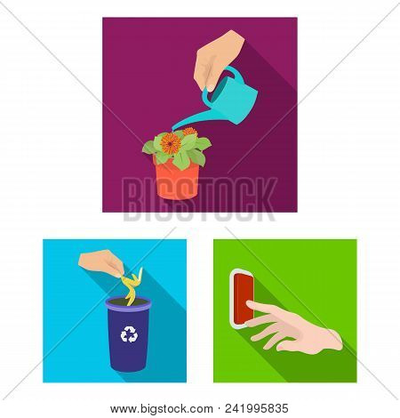 Manipulation By Hands Flat Icons In Set Collection For Design. Hand Movement Vector Symbol Stock  Il