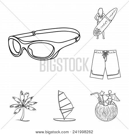 Surfing And Extreme Outline Icons In Set Collection For Design. Surfer And Accessories Vector Symbol