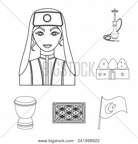 Turkey Country Outline Icons In Set Collection For Design.travel And Attractions Vector Symbol Stock