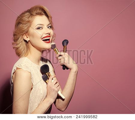 Fashion Model Woman Fece Close Up. Face Woman Wiht Happy Emotion. Beauty, Fashion, Cosmetics, Vintag