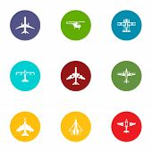 Airman icons set. Flat set of 9 airman vector icons for web isolated on white background poster