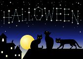 "Black cats walk on a roof under constellation ""Halloween"". The different graphics are all on separate layers so they can easily be moved or edited individually. poster"