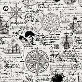 Vector abstract seamless background on the theme of travel, adventure and discovery. Old manuscript with caravels, wind rose, anchors and other nautical symbols with blots and stains in vintage style poster