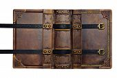 Opened aged brown leather cover with gilded frame and embossed leather stripes in high resolution poster