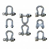 Set of Different Stainless Steel Shackles. Metal Tackles Equipment for buildings and rigging yachts. 3D render Illustration isolated on a white background. poster