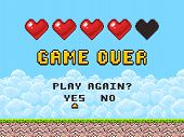 Game over pixel art arcade game screen vector illustration. Arcade retro banner, digital pixel 8-bit poster