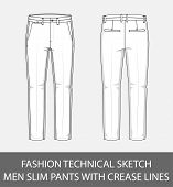 Fashion technical sketch men slim pants with crease lines in vector graphic poster