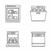 Dishwasher machine kitchen icons set. Outline illustration of 4 dishwasher machine kitchen vector icons for web poster