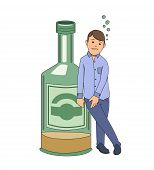 Alcohol addiction. Drunken man holding on to big bottle of booze. Vector illustration. Isolated on white background. poster