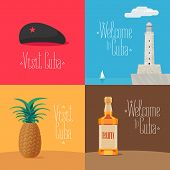 Set of vector illustrations with Cuban symbols and landmarks - Morro Castle, Che Guevara cap, rum. Design elements for visit Cuba concept poster