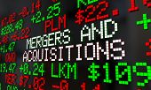 Mergers and Acquisitions M&A Stock Market Ticker 3d Render Illustration poster