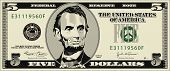 A detailed vector drawing of a five dollar bill poster