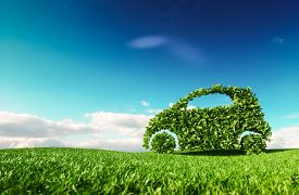 Eco Friendly Car Development, Clear Ecology Driving, No Pollution And Emmission Transportation Conce