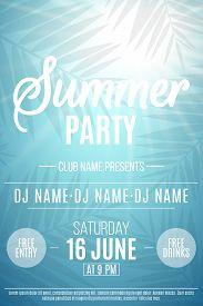 Poster For Summer Party. Background With Palm Trees. The Names Of The Club And Dj. Summer Disco Flye