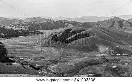 Black And White Landscape Of The Umbro-marchigiano Apennines (italy) From Above