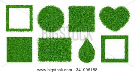 Green Grass Background 3d Set Isolated. Lawn Greenery Nature Ball, Circle, Heart. Abstract Field Tex