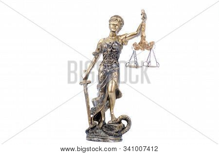 Law And Justice, Legality Concept, Scales Of Justice, Justitia, Lady Justice On The White Isolated B