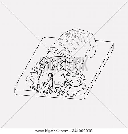 Arabian Shawarma Icon Line Element. Vector Illustration Of Arabian Shawarma Icon Line Isolated On Cl