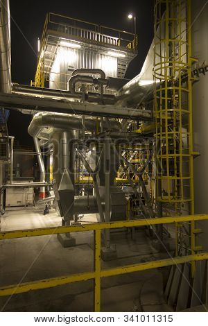 Fragment Of Flue Gas Cleaning Installation, Semi-dry Desulphurization And Dedusting, Night View