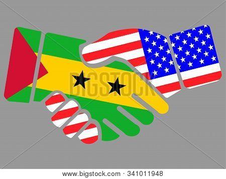 Sao Tome And Principe And Usa Flags Handshake Vector Illustration Eps 10
