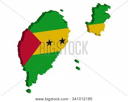 Sao Tome And Principe Map Flag Vector 3d Illustration Eps 10.