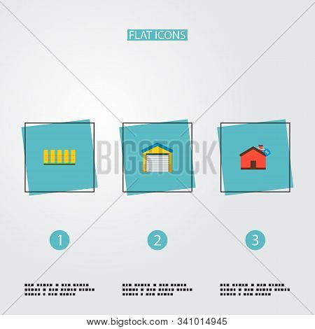 Set Of Realestate Icons Flat Style Symbols With Fence, Mortgage, Garage And Other Icons For Your Web