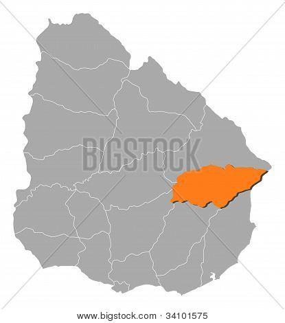 Map Of Uruguay, Treinta Y Tres Highlighted