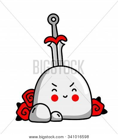 Excalibur Sword In The Stone, Twined With Roses. Cute Little Cartoon Character. Vector Illustration.