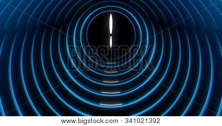 Abstract Background Of Dark Blue Clock At 6:00 With White Hour And Minute Hands. Blue Rings Surround
